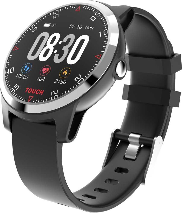"""Смарт-часы KREZ Conga,  45мм,  1.3"""",  черный / черный [sw21]"""