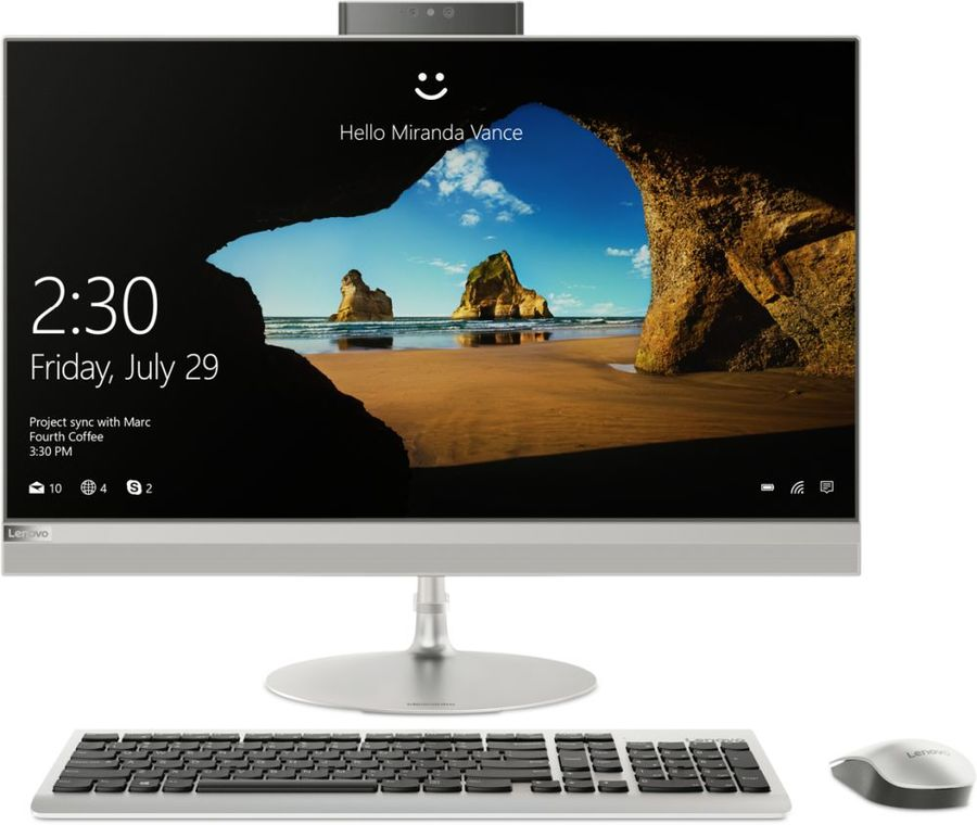 "Моноблок LENOVO IdeaCentre 520-27ICB, 27"", Intel Core i7 8700T, 8Гб, 1000Гб, Intel UHD Graphics 630, DVD-RW, noOS, серебристый [f0de004srk]"