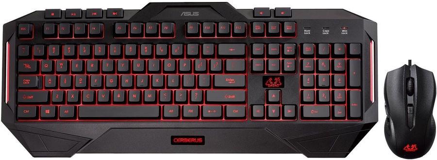 Комплект (клавиатура+мышь) ASUS Cerberus Combo, USB, проводной, черный [90yh0141-b2ra00]