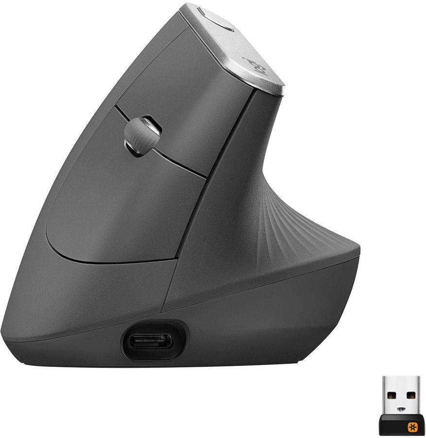 Мышь LOGITECH MX Vertical, вертикальная, оптическая, беспроводная, USB, черный [910-005448]
