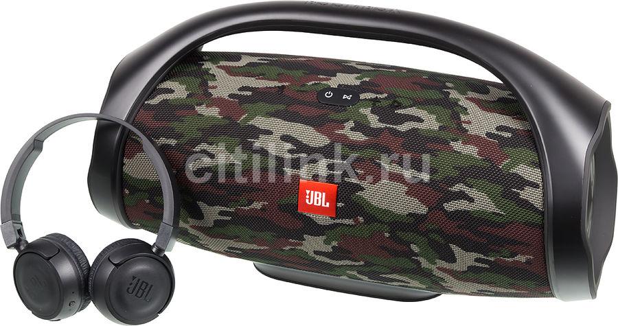 Портативная колонка JBL Boombox + наушники T450BT,  40Вт, камуфляж