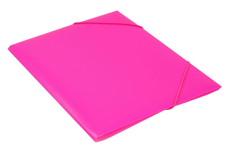 Папка на резинке Бюрократ Double Neon DNE510PINK A4 пластик кор.30мм 0.5мм розовый