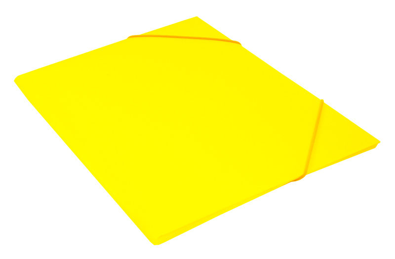 Папка на резинке Бюрократ Double Neon DNE510YEL A4 пластик кор.30мм 0.5мм желтый