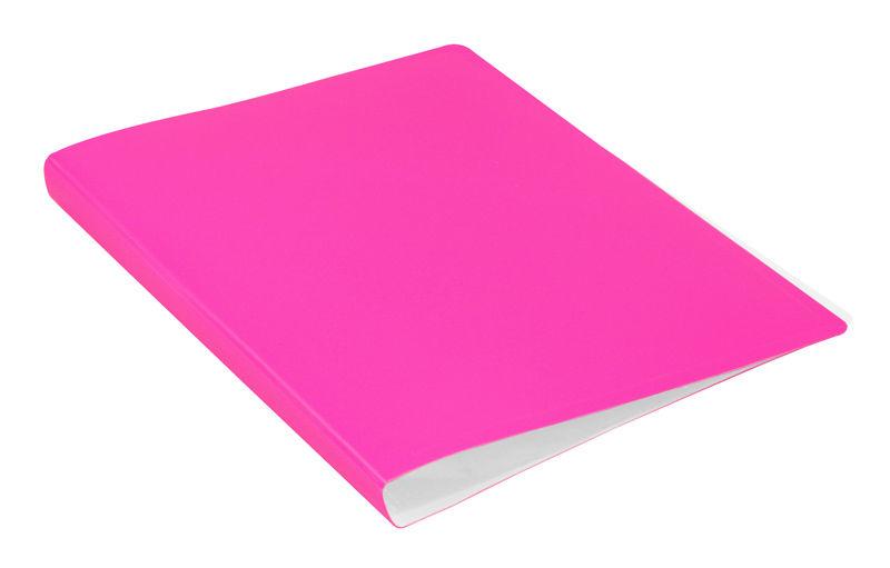 Папка с 20 прозр.вклад. Бюрократ Double Neon DNE07V20PINK A4 пластик 0.7мм розовый