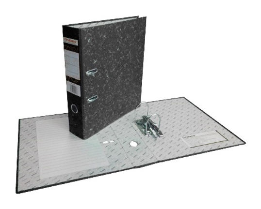 Папка-регистратор МР50-332ВК/S A4 50мм картон/бумага черный мет.окант.