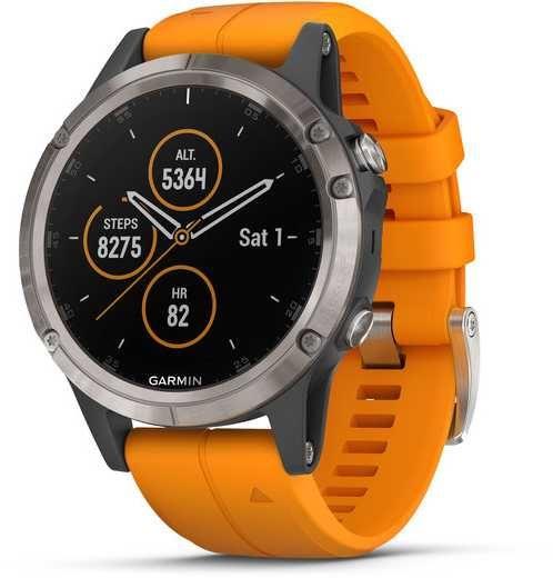"Смарт-часы GARMIN Fenix 5 plus,  47мм,  1.2"",  темно-серый / оранжевый [010-01988-05]"