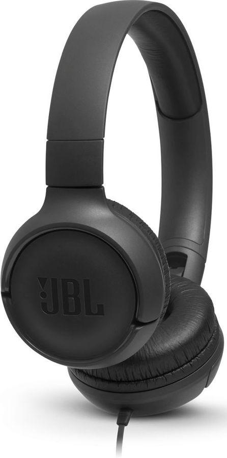 Наушники с микрофоном JBL T500, 3.5 мм, накладные, черный [jblt500blk]