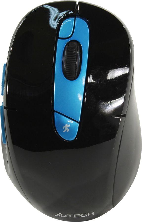 Мышь A4 G11-570FX, оптическая, беспроводная, USB, черный и синий