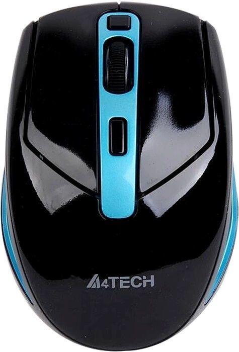 Мышь A4 G11-590FX, оптическая, беспроводная, USB, черный и синий