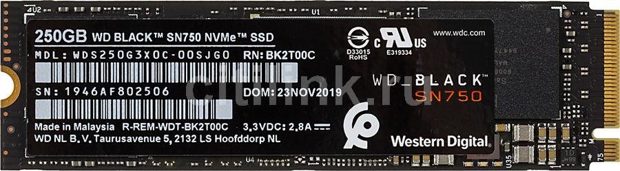 SSD накопитель WD Black WDS250G3X0C 250Гб, M.2 2280, PCI-E x4,  NVMe