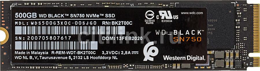 SSD накопитель WD Black WDS500G3X0C 500Гб, M.2 2280, PCI-E x4,  NVMe