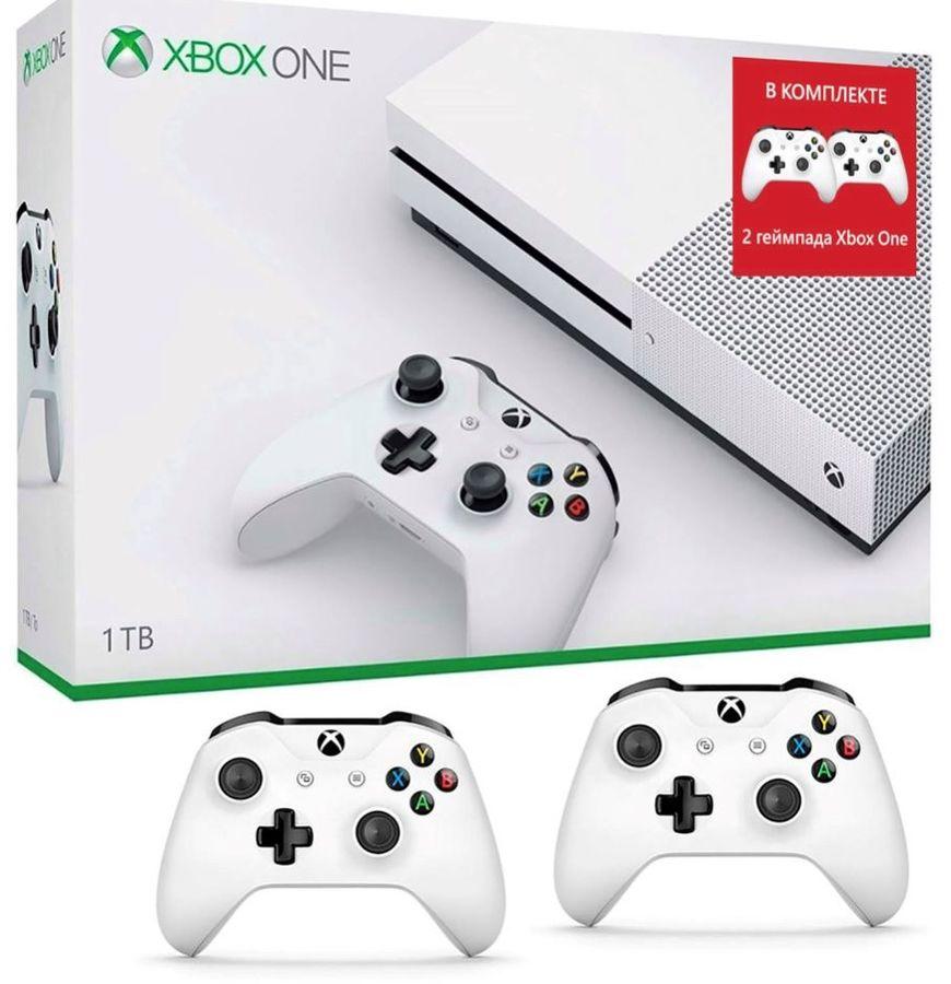 Игровая консоль MICROSOFT Xbox One S с 1 ТБ памяти и двумя беспроводными геймпадами,  234-00357-2g, белый