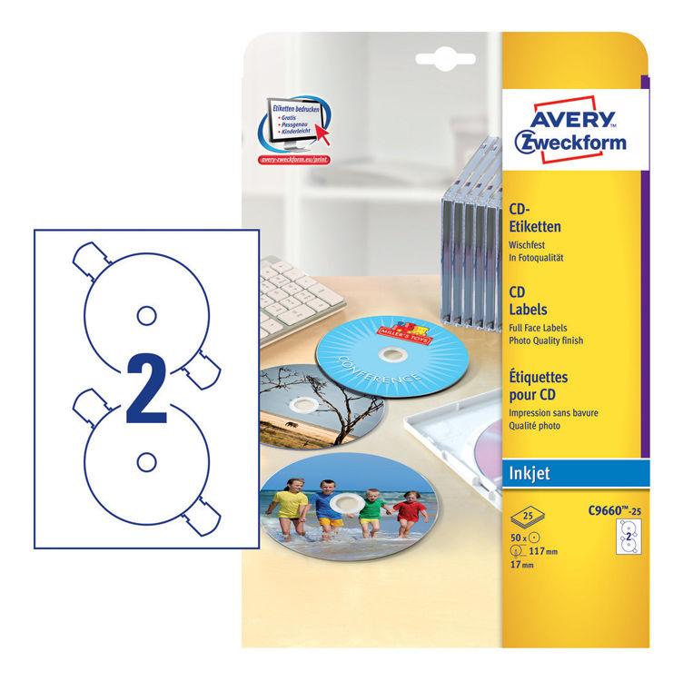 Этикетки Avery Zweckform CD/DV C9660-25 A4/196г/м2/50л./белый супер глянец самоклей. для лазерной пе