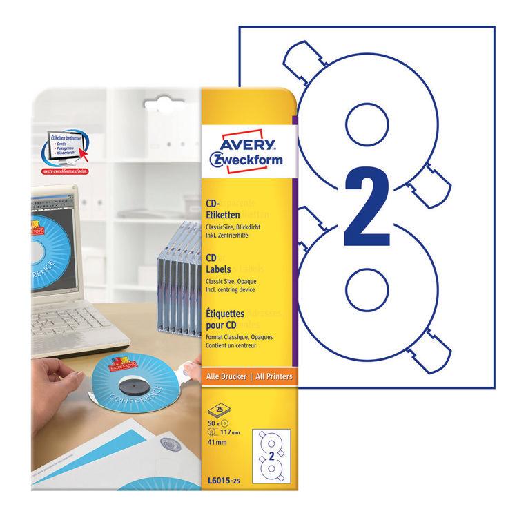 Этикетки Avery Zweckform CD/DVD L6015-25 A4/196г/м2/50л./белый самоклей. для лазерной печати