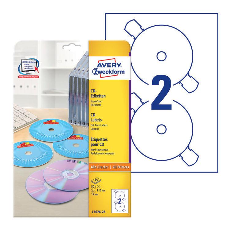 Этикетки Avery Zweckform CD/DVD L7676-25 A4/196г/м2/50л./белый супер глянец самоклей. для лазерной п