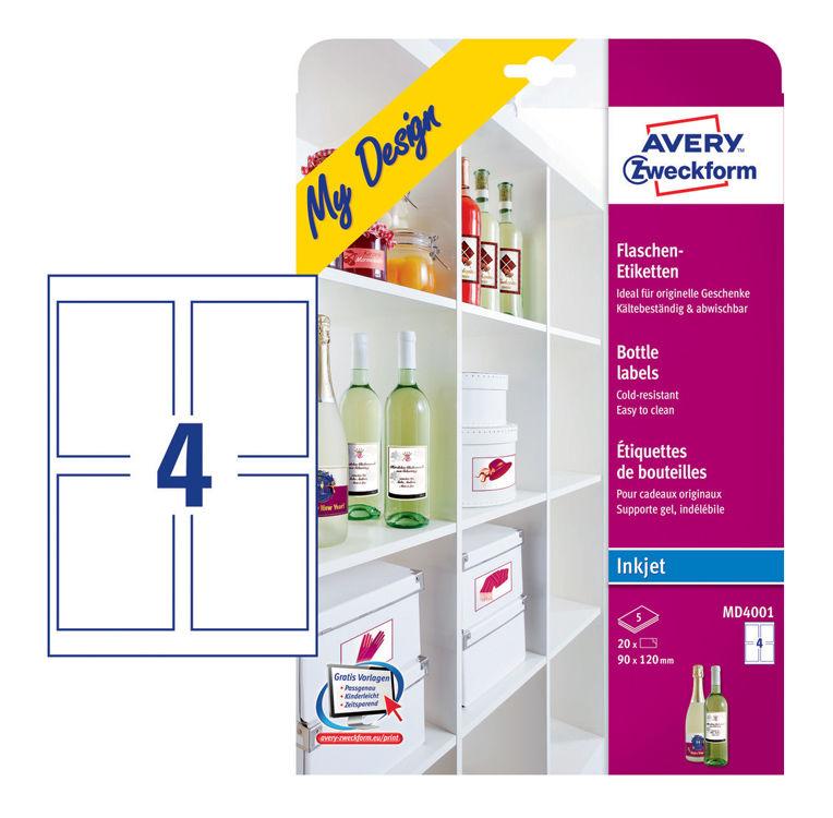 Этикетки Avery Zweckform MD4001 A4 120x90мм 4шт на листе/5л./белый глянцевое самоклей. для струйной