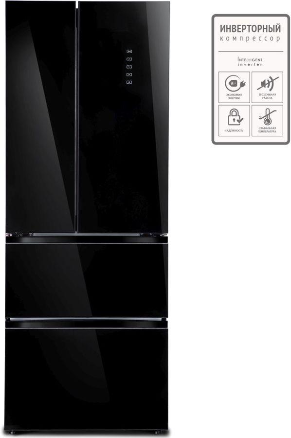 Холодильник TESLER RFD-360I,  трехкамерный, черное стекло