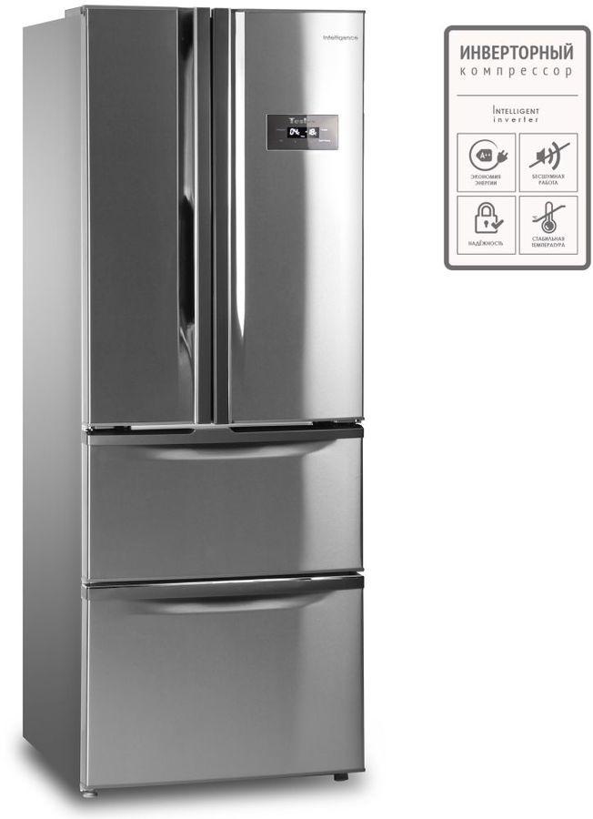 Холодильник TESLER RFD-360I,  трехкамерный, нержавеющая сталь