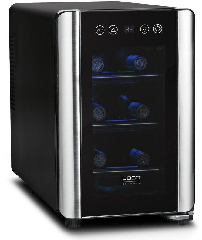 Винный шкаф CASO WineCase 6,  однокамерный, черный/серебристый