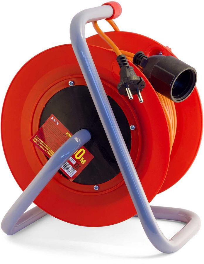 Удлинитель силовой LUX К1-О-50-22050 2x0.75кв.мм 1розет. 50м ПВС 6A катушка оранжевый