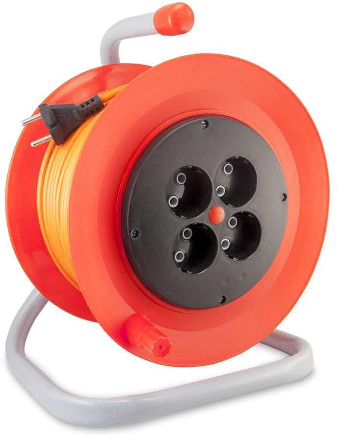 Удлинитель силовой LUX К4-О-50-24050 2x0.75кв.мм 4розет. 50м ПВС 6A катушка оранжевый