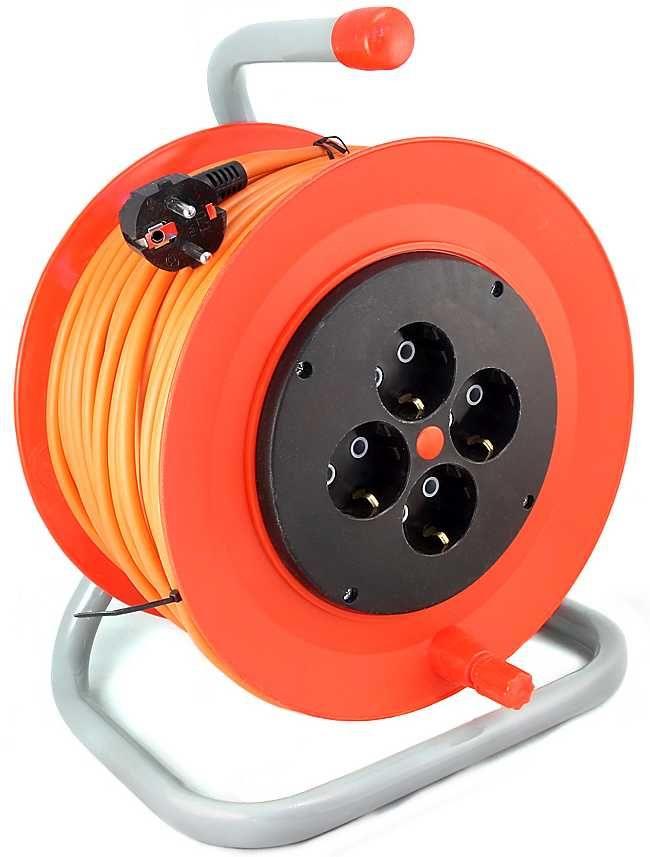 Удлинитель силовой LUX К4-Е-40-24140 3x0.75кв.мм 4розет. 40м ПВС 10A катушка оранжевый