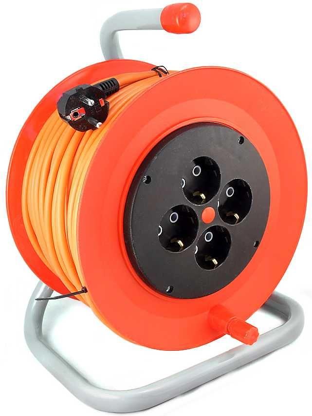 Удлинитель силовой LUX К4-Е-50-24150 3x0.75кв.мм 4розет. 50м ПВС 10A катушка оранжевый