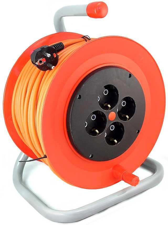 Удлинитель силовой LUX К4-Е-30-25130 3x1.5кв.мм 4розет. 30м ПВС 16A катушка оранжевый