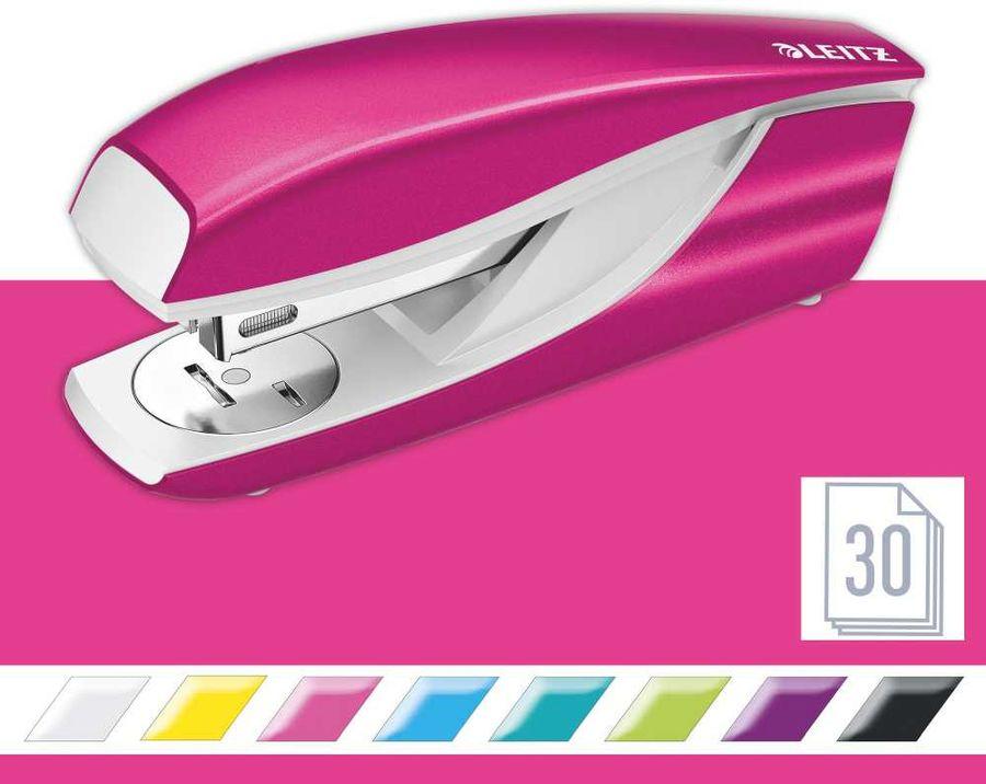 Степлер Esselte 55022023 Leitz NeXXt WOW 24/6 26/6 (30листов) встроенный антистеплер розовый металли