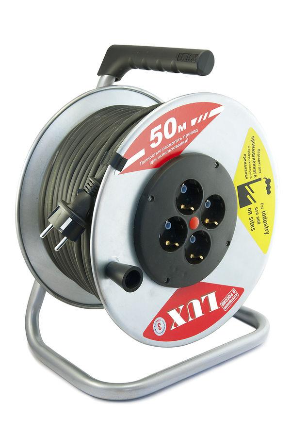 Удлинитель силовой LUX К4-Е-50-44150 3x1.5кв.мм 4розет. 50м КГ 16A метал.катушка черный