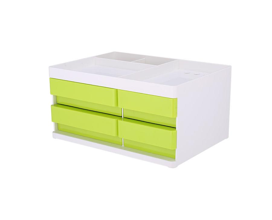 Органайзер настольный Deli EZ25050 Rio 4 выдвижных ящика 131x189x264мм белый/зеленый пластик