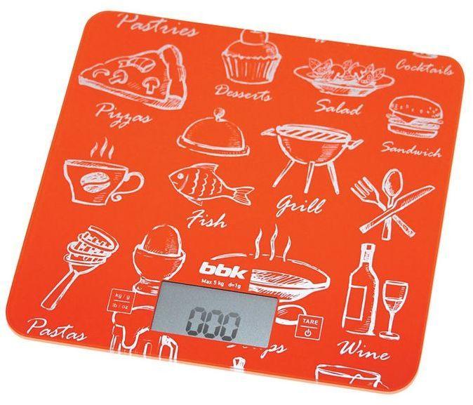 Весы кухонные BBK KS108G,  оранжевый/рисунок