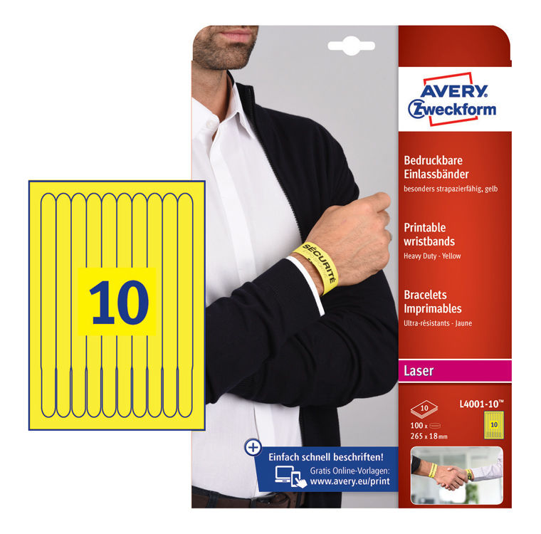 Пленка Avery Zweckform L4001-10 265x18мм 10шт на листе/198г/м2/10л./желтый/матовое самоклей. для лаз