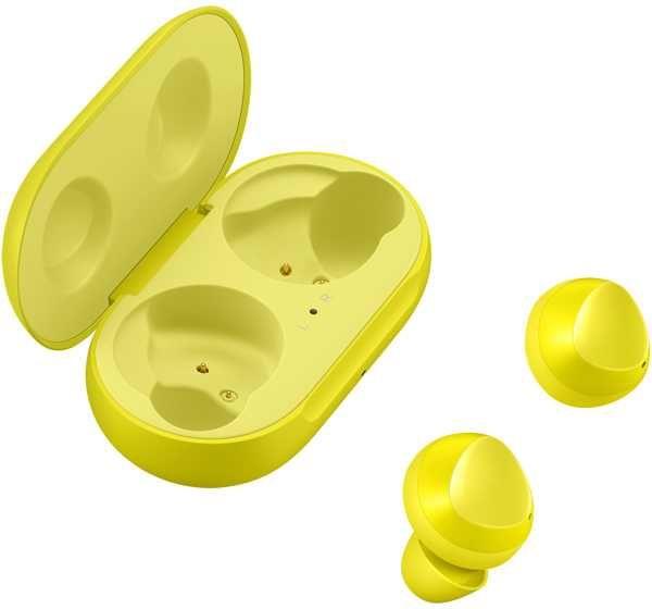 Наушники SAMSUNG Buds SM-R170, Bluetooth, вкладыши, желтый [sm-r170nzyaser]