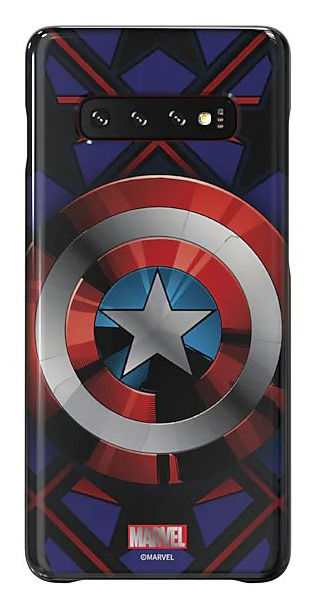 Чехол (клип-кейс) SAMSUNG Marvel Case CAmerica, для Samsung Galaxy S10+, синий [gp-g975hifghwc]