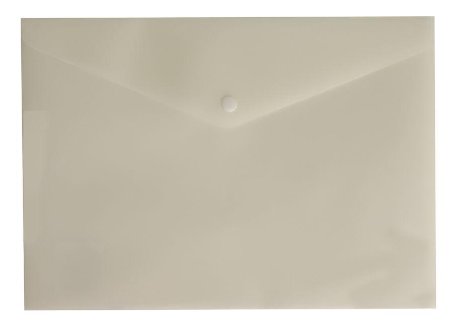 Конверт на кнопке Бюрократ DeLuxe DL801MILK/1 A4 пластик 0.18мм молочный