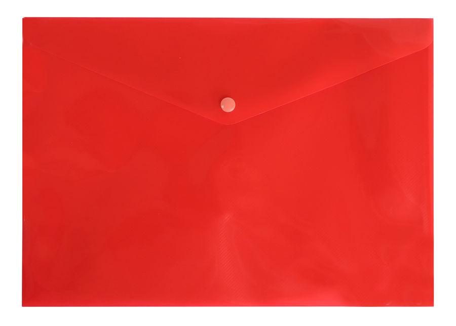 Конверт на кнопке Бюрократ DeLuxe DL801RED/1 A4 пластик 0.18мм красный