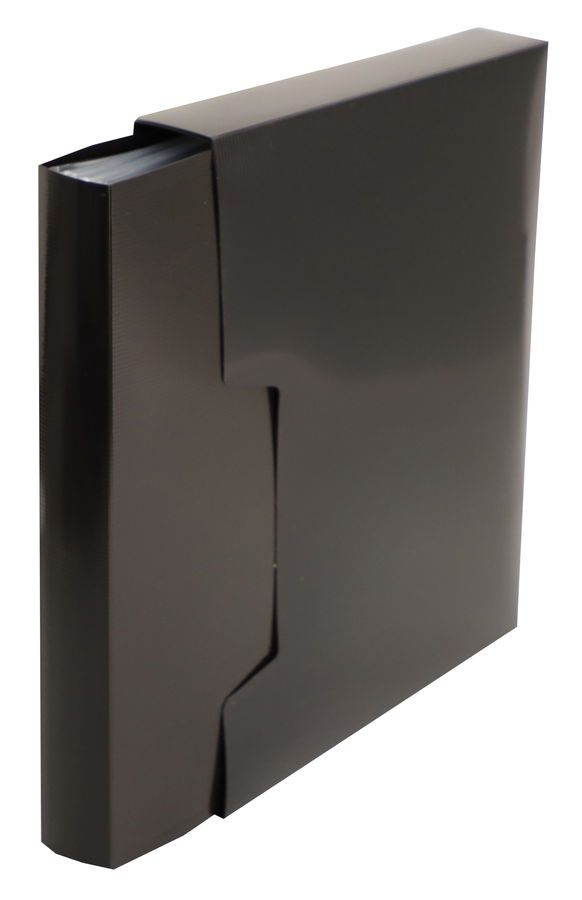 Папка с 100 прозр.вклад. Бюрократ DeLuxe DLVBOX100BLCK A4 пластик 0.7мм черный в коробе