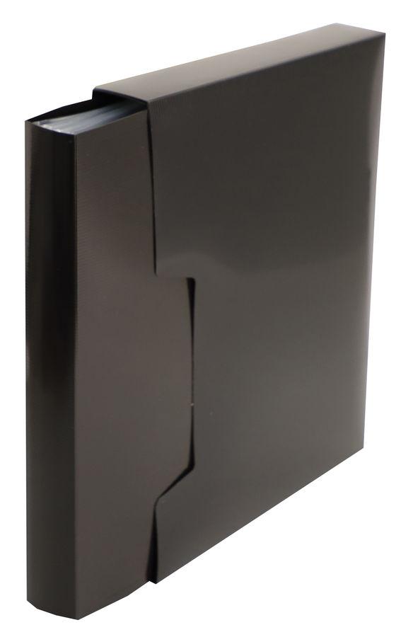 Папка с 80 прозр.вклад. Бюрократ DeLuxe DLVBOX80BLCK A4 пластик 0.7мм черный в коробе