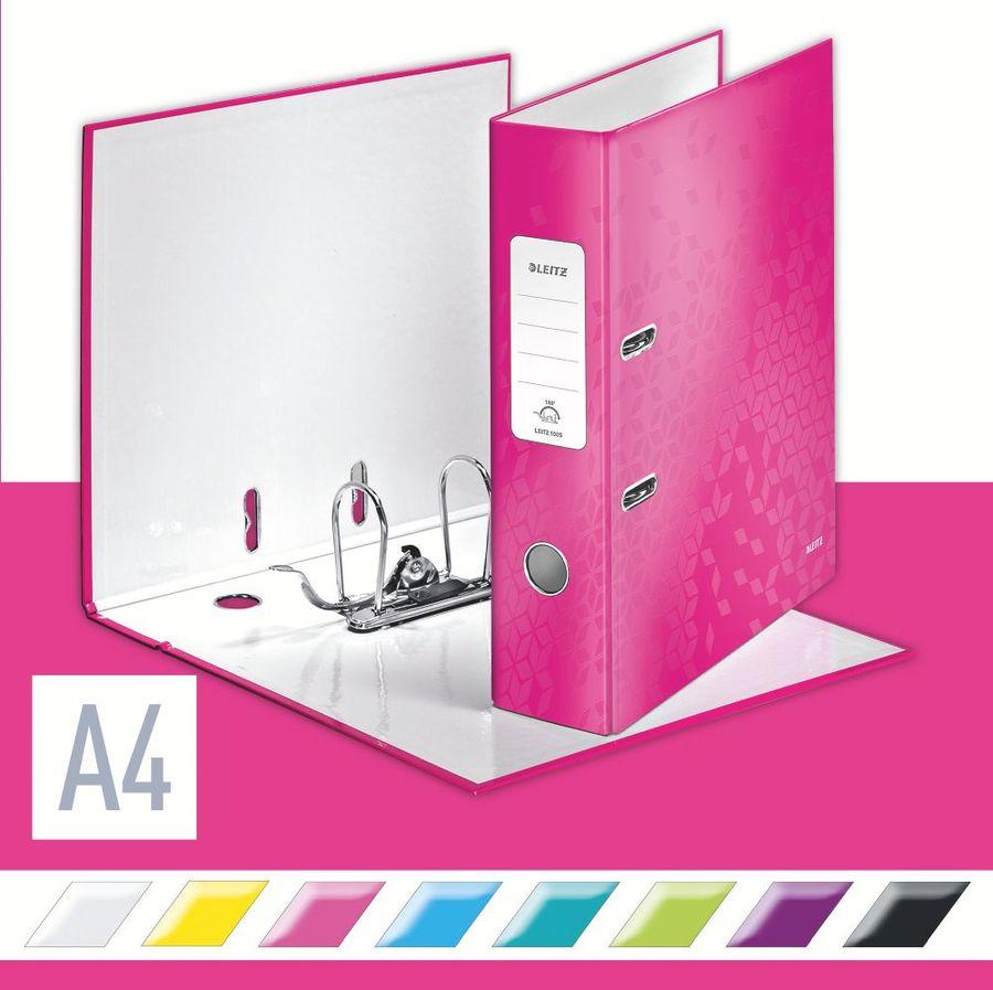 Папка-регистратор Esselte Leitz WOW 10050023 A4 80мм розовый 180 градусов