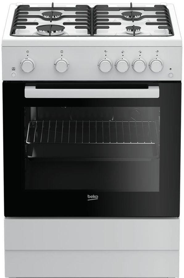 Газовая плита BEKO FSGT62110GW,  газовая духовка,  белый