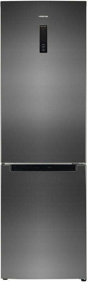 Холодильник HIBERG RFC-372DX NFXd,  двухкамерный, черный/серебристый