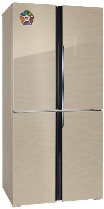 Холодильник HIBERG RFQ-490DX NFGY,  трехкамерный, бежевый стекло