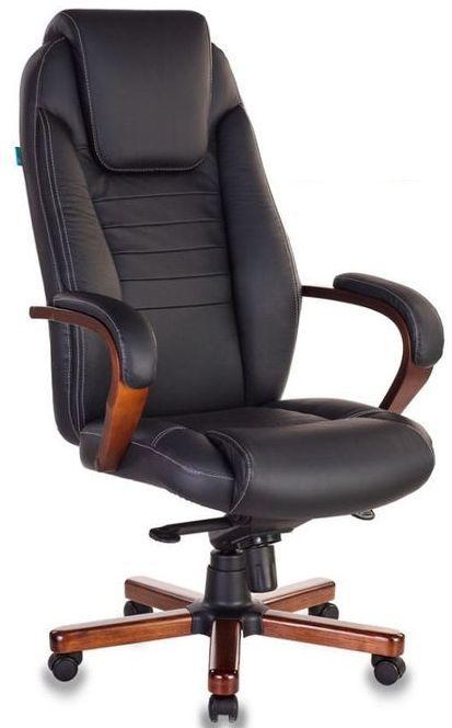 Кресло руководителя БЮРОКРАТ T-9923MAHOGANY, на колесиках, кожа [t-9923mahogany/black]