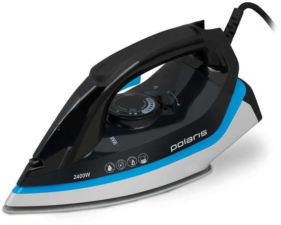 Утюг POLARIS PIR 2485K,  2400Вт,  черный/ голубой