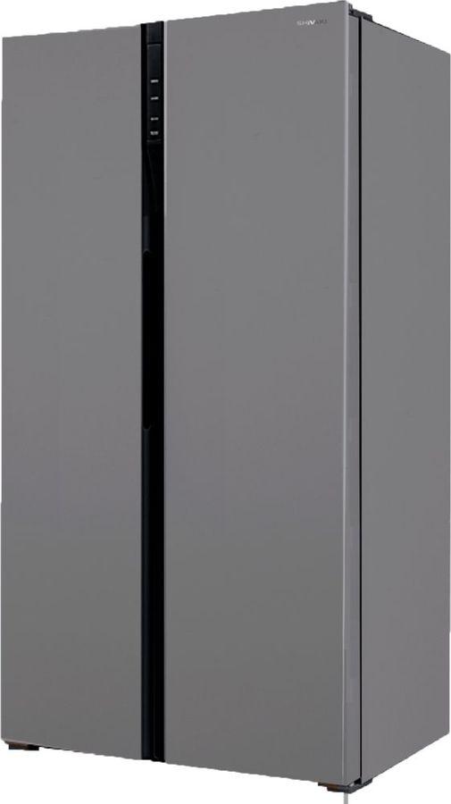 Холодильник SHIVAKI SBS-502DNFX,  двухкамерный, нержавеющая сталь