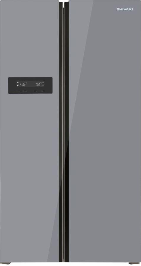 Холодильник SHIVAKI SBS-572DNFGS,  двухкамерный, серебристое стекло
