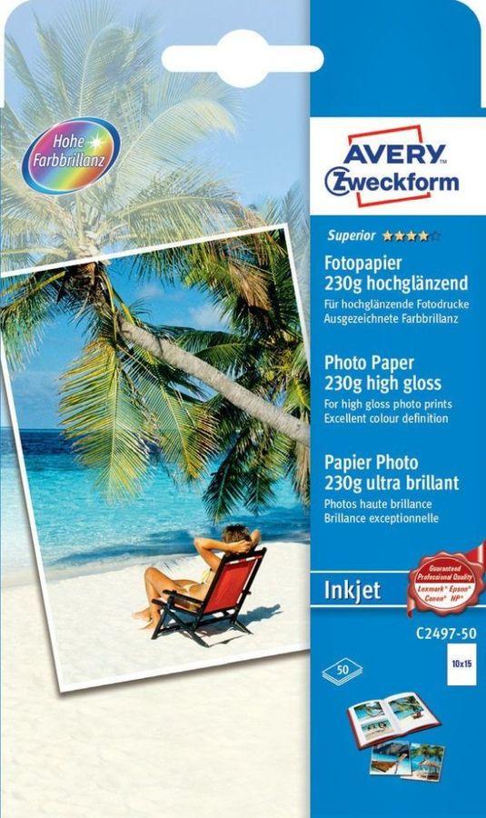 Фотобумага Avery Zweckform C2497-50 С2497-50 10x15/230г/м2/50л./белый глянцевое для струйной печати