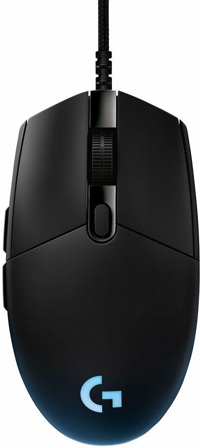 Мышь LOGITECH G PRO Lightspeed Hero, игровая, оптическая, проводная, USB, черный [910-005440]