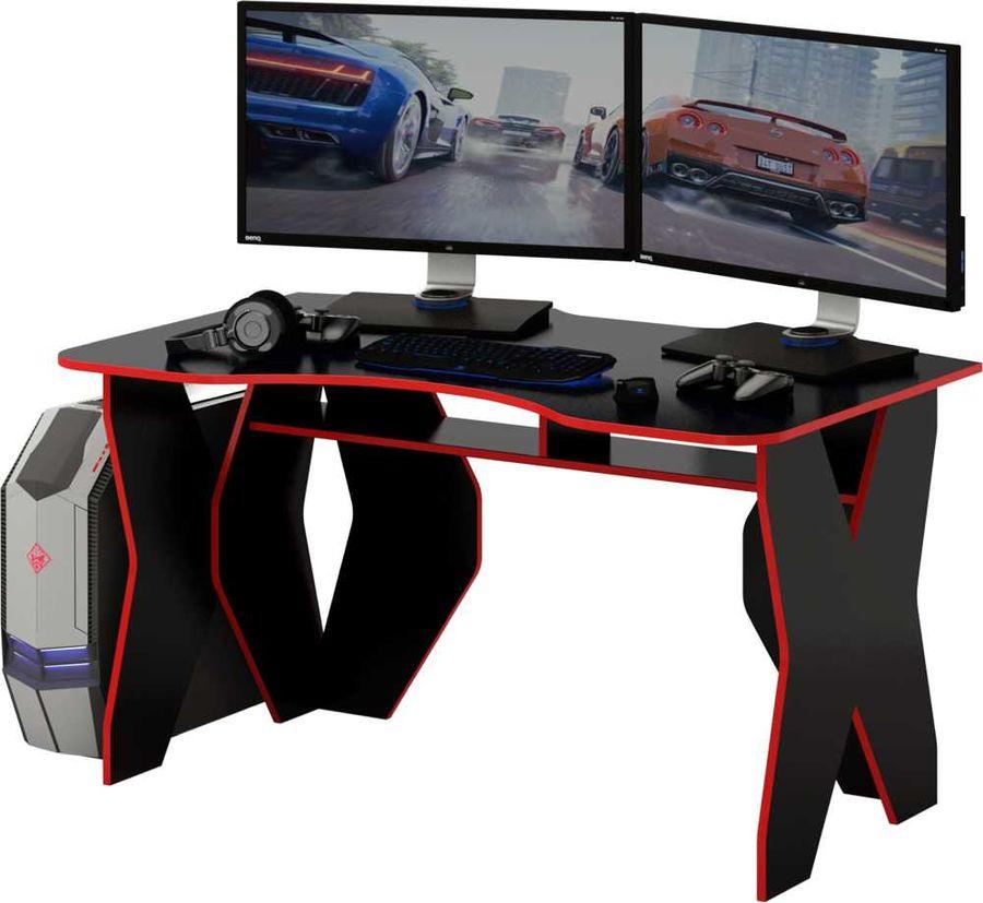 Стол игровой  МАСТЕР Таунт,  ЛДСП,  черный и красный